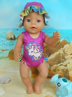 """Dolls clothes for 17"""" Baby Born Doll~PINK~UNICORN~RAINBOW~ SWIMMING COSTUME~HAT"""