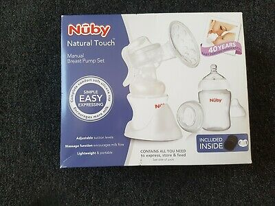 NEW Nuby Natural Touch Manual Breast Pump + Anti Colic Bottles Set Pad Soother