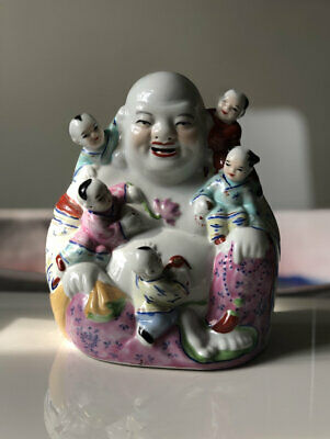Superb Vintage Chinese Five Children Porcelain Laughing Happy Buddha Budai