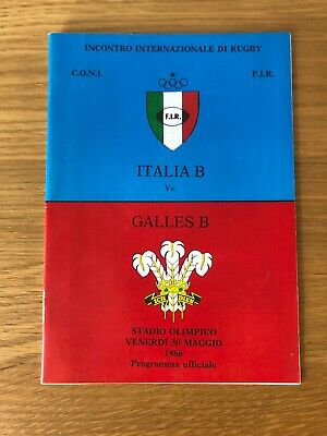 WALES 1986 RUGBY TOUR PROGRAMME v ITALY B 2nd Test 30th May ROME