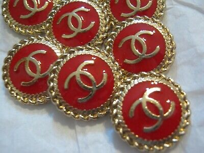Chanel  buttons  set of 8 sz 16mm lot of 8 GOLD CC