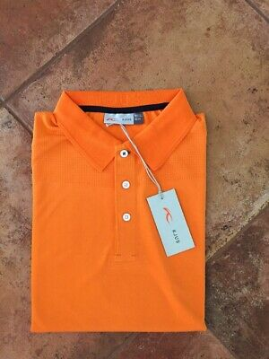 Kjus Seapoint  Golf Polo Shirt Men's M EU Size 50 Bright Orange