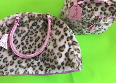 Girls Two Piece Leopard Print Fuzzy Luggage Set - Overnight Bag & Toiletries Bag