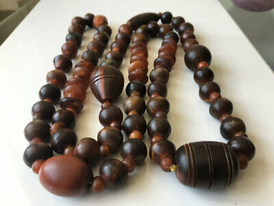 Superb Antique Vintage Chinese ? Carved Horn Bead Necklace 178G