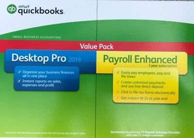 Brand NEW QuickBooks Pro with Enhanced Payroll 2019 Value Pack