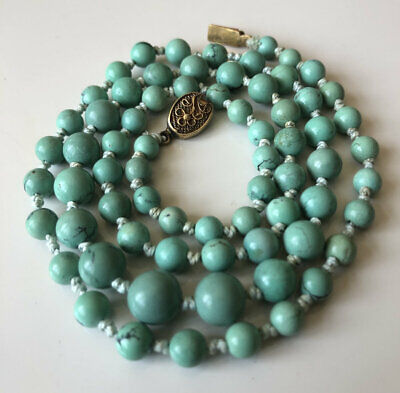 Superb Antique Art Deco Chinese Export Graduated Turquoise Bead Necklace