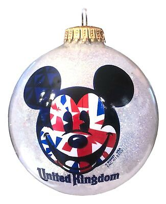 Disney Parks Epcot United Kingdom World Showcase Mickey Mouse Glass Ornament