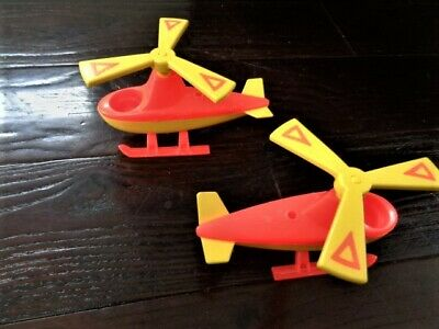 Fisher Price Little People 2 Helicopters Airport 996 Vintage orange yellow