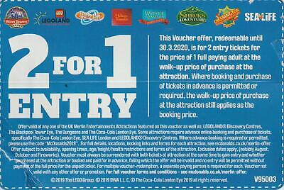 1 x 2 for 1 entry ticket for Alton Towers, Legoland, Thorpe Park, London Eye