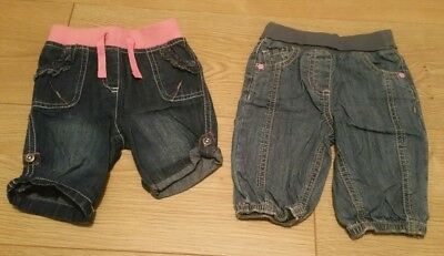 Two Pairs of Baby Jeans One Next One Marks and Spencers 0-3 Months