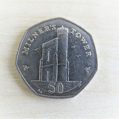 ISLE OF MAN -  MILNER'S TOWER 50p COIN CIRCULATED - Manx collectors