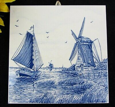 """Delft Blue Holland Hand Painted Decorative Tile w Sailboat & Windmills 6"""" x 6"""""""