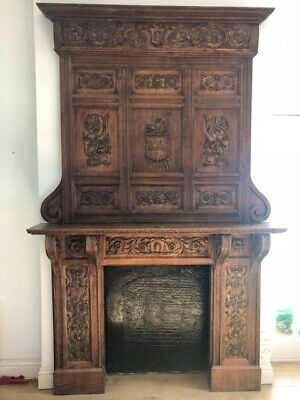 Antique Wooden Fire Surround (Fire Place, Gothic, Carved, Victorian)