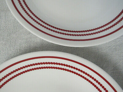 Six (6) Corelle Ruby Red Stripe Solid / Dotted Luncheon Plates Mint Never Used