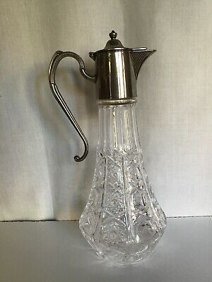 Tall Vintage Silver Plate & Cut Glass Wine Claret Decanter  Made in England