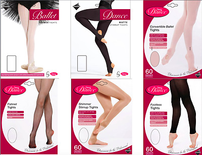 Girls Dance Tights Ballet - Convertible Stirrup Seamer Footed Fishnet Footless
