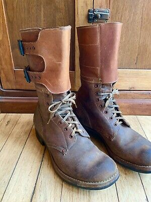 Vintage Ww2 Us Military Buckle Tank Boots - B.f. Goodrich Soles- Sz 8D Very Nice
