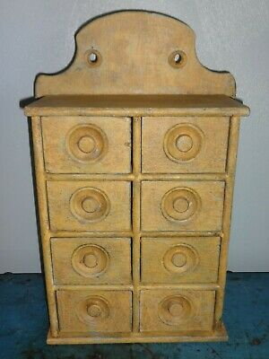 Antique 8 Drawer Mustard Spice Cabinet/Box/Cupboard/Apothecary/Chest/Painted