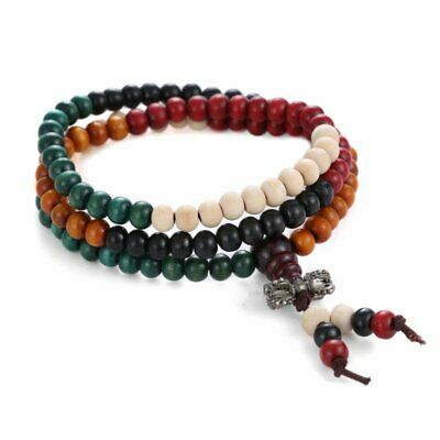 Vintage 108 Wood Beads Men Tibetan Buddhist Wrap Jewelry Bracelet Necklace Gift