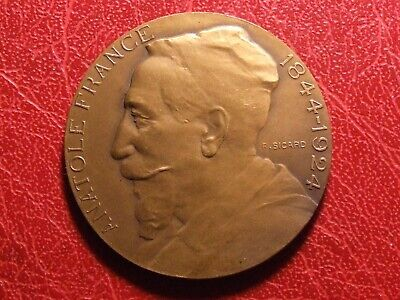 Anatole France French poet 1921 Nobel Prize for Literature medal by F. SICARD