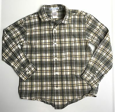 Janie And Jack GUC 5 Boy Gray Plaid Button Up Long Sleeve Poplin Dress Shirt