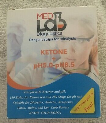 MedLab Diagnostics Ketone + pH 5.0- 8.5  200 Test Strips Exp 10/2020
