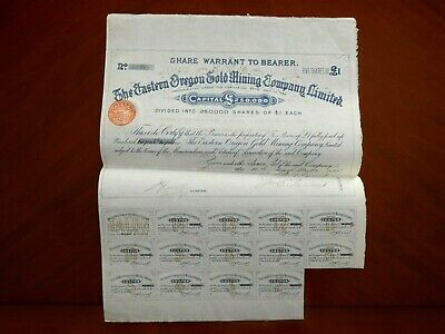 Eastern Oregon Gold Mining , share certificate 1888