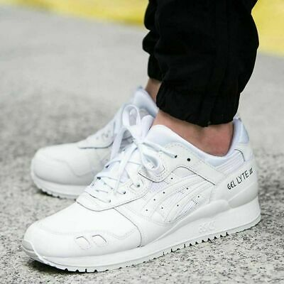 Asics Gel Lyte III Triple White Leather Trainers Shoes