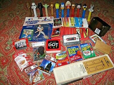 Junk Drawer Lot Sports Cards Star Wars Pez Movie Games Car Wax Packs Collectible