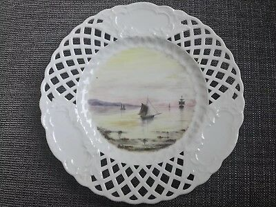 Minton lace pierced sea scene hand painted unfinished Cabinet plate RARE