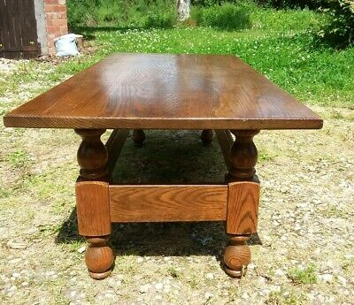 Solid Oak Long Coffee Table, Antique Style,  Heavy Turned Legs. Classic