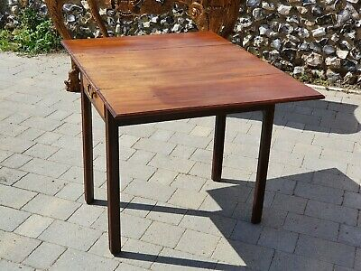 Antique Inlaid Mahogany Chippendale Pembroke Drop Side Table with Drawer