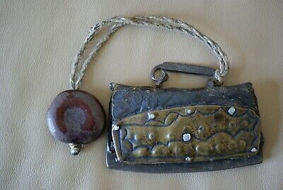 Antique 18th or 19th Century Chinese or Japanese Tobacco - Pouch and Netsuke