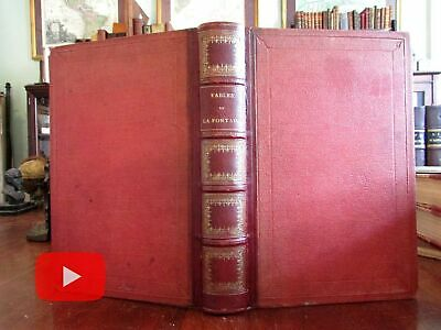 La Fontaine Fables Grandville illustrated 1864 French leather book beautiful