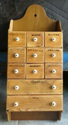 Oak 11 Drawer Spice Cabinet/Box/Cupboard/Apothecary/Chest/Porcelain Knobs-AAFA