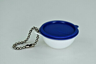 Vintage Miniature Tupperware Wonderlier Bowl and Blue Lid Key Chain Keychain