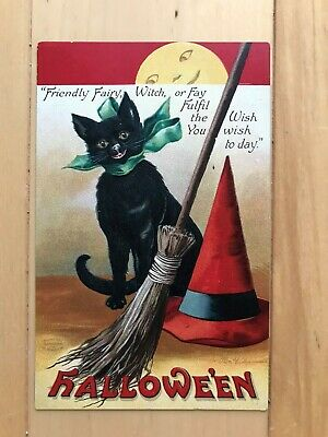 "VTG Embossed Clapsaddle ""Friendly Fairy"" Black Cat & Broom Halloween Postcard"