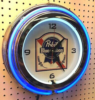 """15"""" Pabst Blue Ribbon PBR Sign Double Neon Clock"""