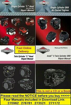 Briggs and Stratton Single and Twin Cylinder Repair Service Workshop Manual