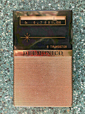 Vintage Delmonico Transistor Radio In Leather Case - Tested Working
