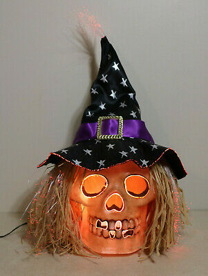 Fiber Optic Lighted Color Changing Skull / Witch Hat Halloween Haunted Prop