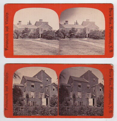 2x DAVIS BROTHERS: Old Wentworth House NEW HAMPSHIRE *RARE Stereoviews SVs 1860s