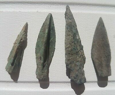 Ancient  BRONZE LOT 4 arrowhead relics artifact war arrow arrowhead BRONZE AGE