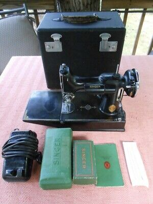 Vintage Singer Featherweight 221 Sewing Machine 1940 + Case+ Extras Works Great!
