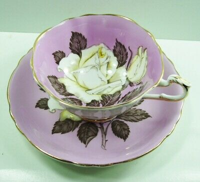 Paragon White Rose Cup and Saucer with Lavender Background