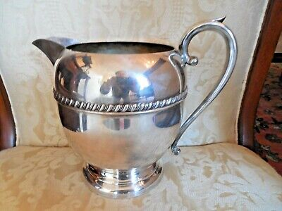 CLASSIC SILVER ON COPPER-LARGE WATER PITCHER-USEFUL SZ-HALLMARKS -7 cup -VASE