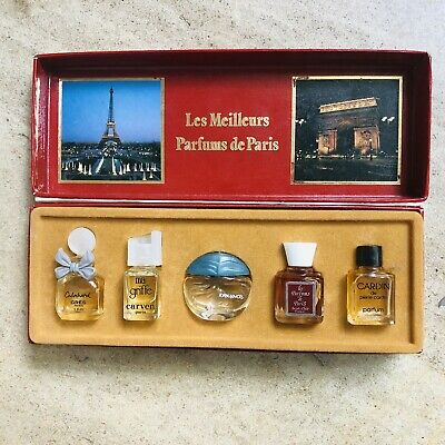 Vintage Lot of 5 Miniature Glass Bottles of Perfume w/ Contents in Original Box