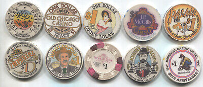 10 Different One Dollar Chips from Cripple Creek Co. Casinos
