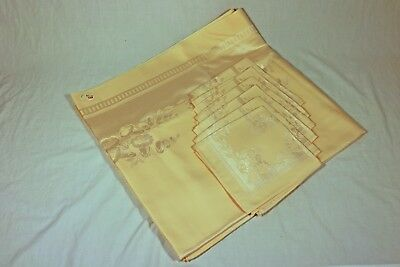 "Vintage Pale Peach 54""x72"" Damask Tablecloth & Napkins - new, circa 1955"