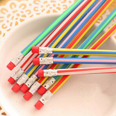 50x/20x/10x/5x Colors Bendy Flexible Soft Pencils With Eraser Kids Study Gifts